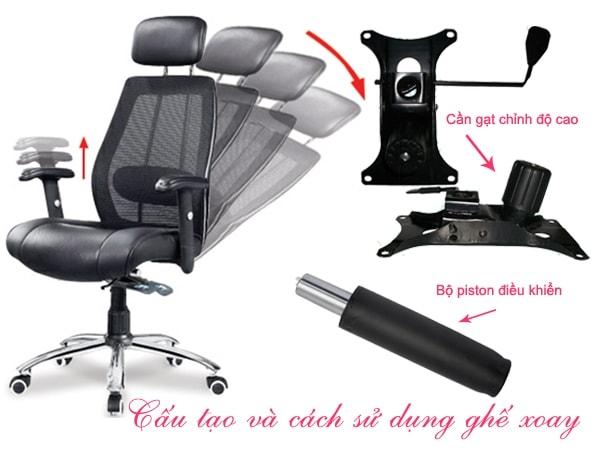 Cấu tạo và cách điều chỉnh ghế xoay văn phòng bạn nên biết