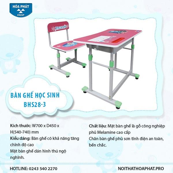 Bộ bàn ghế học sinh Hòa Phát BHS28-3