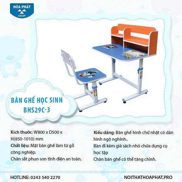 Bàn ghế học sinh Hòa Phát BHS29C-3
