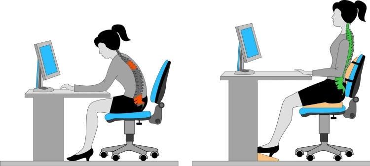 Tư thế ngồi làm việc đúng sẽ giúp bạn thoải mái và không bị đau lưng khi làm việc