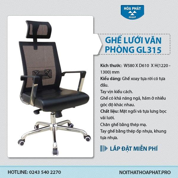 Ghế lưới cao cấp Hòa Phát GL315