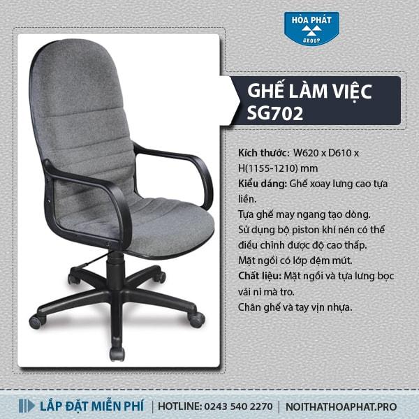 Ghế xoay lưng cao Hòa Phát SG702 hiện đại, giá tốt