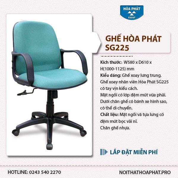 Ghế xoay nhân viên Hòa Phát SG225 có giá khoảng 800k