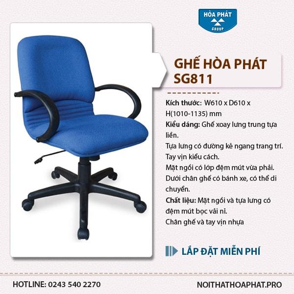 Ghế xoay nhân viên Hòa Phát SG811 có giá bán khoảng hơn 900k