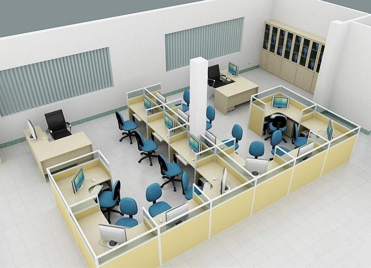 Bố trí bàn làm việc kê sát tường và hệ module bàn làm việc ở giữa
