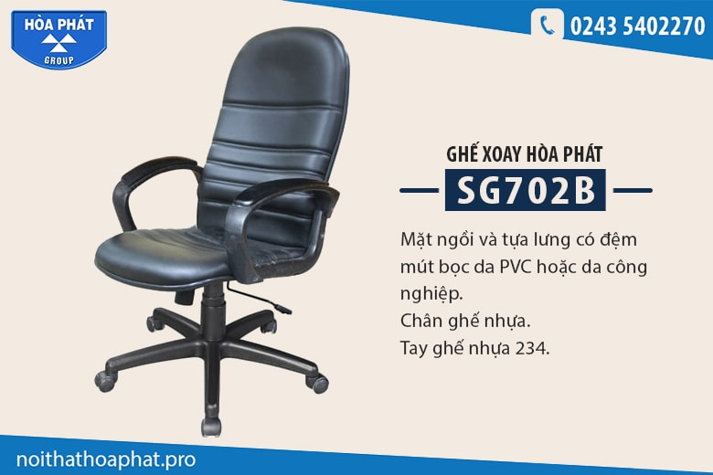 Ghế xoay lưng cao Hòa Phát SG702B