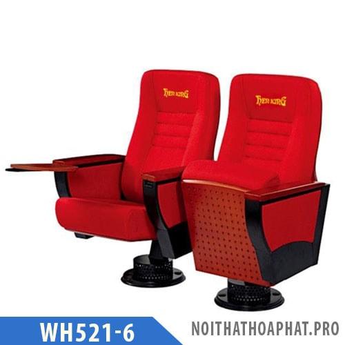 WH521-6 - Ghế hội trường chân trụ, tay ốp gỗ, có bàn viết