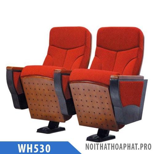 WH530 - Ghế hội trường chân trụ bám sàn, tay vịn ốp gỗ, không có bàn viết