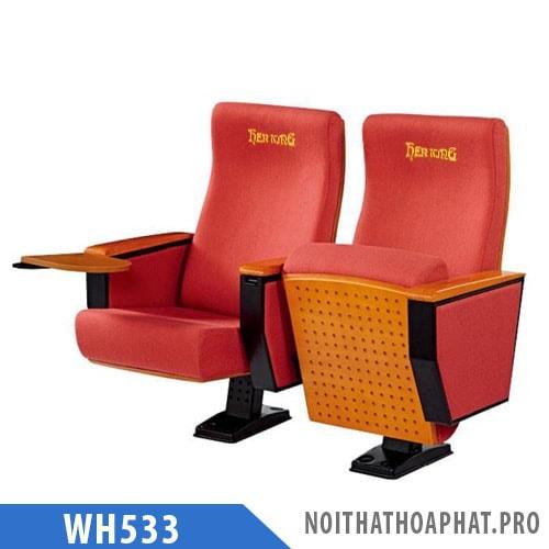 WH533 - Ghế hội trường chân trụ, bọc nỉ, kèm bàn viết