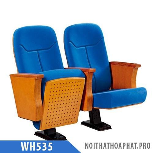 WH535 - Ghế hội trường nhập khẩu ốp gỗ ván dán, đệm nỉ, vách gỗ